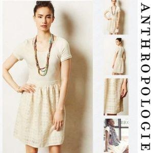 Anthropologie Everleigh Veris Grey Cream Dress Med